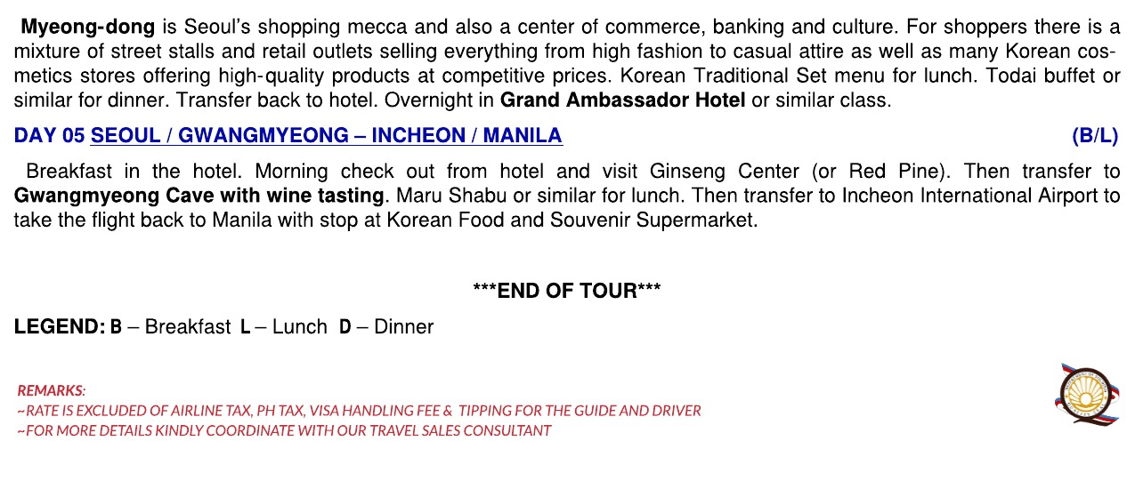 2020 KOREA WINTER (5) DAYS TOUR - WO TOUR RATE - Untitled Page
